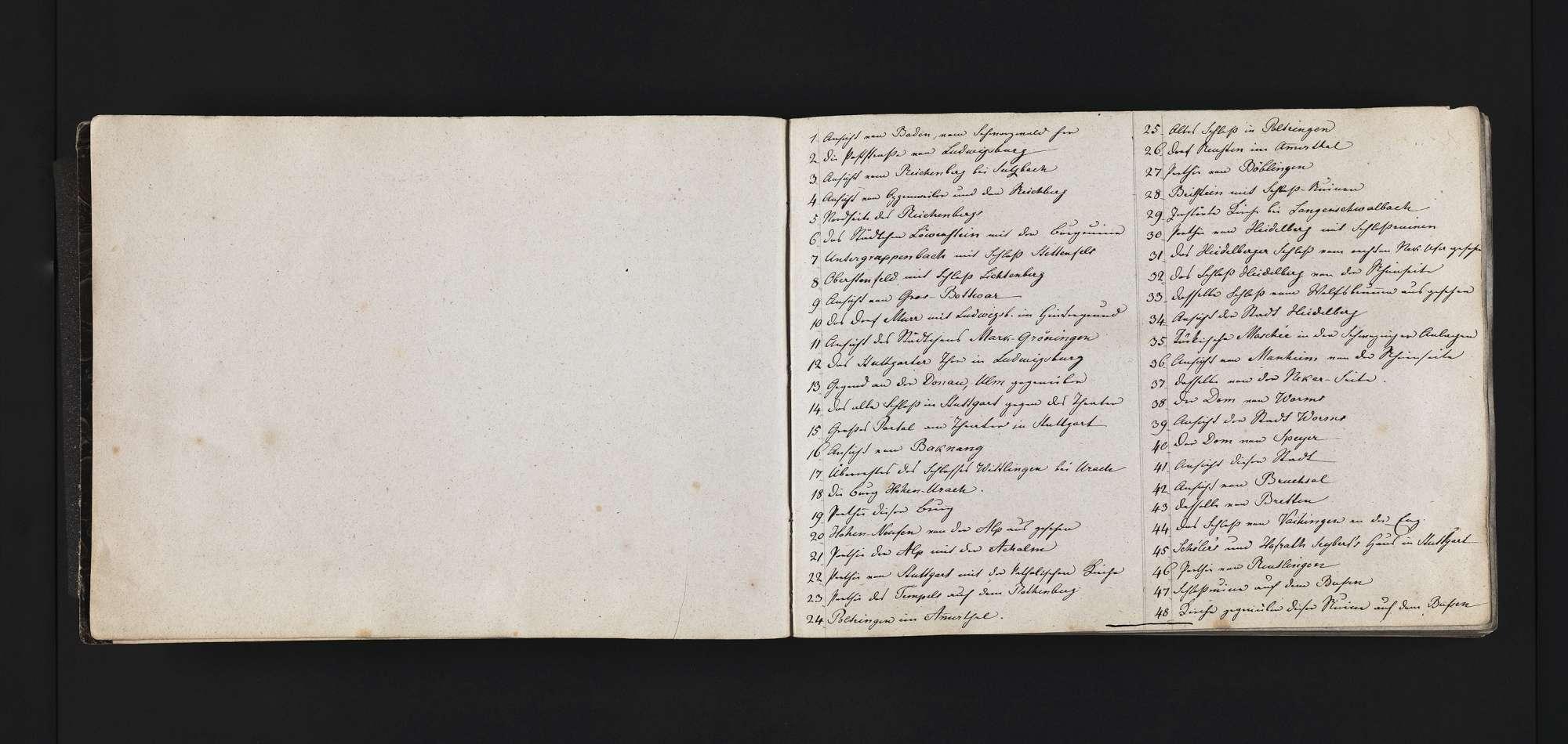 """""""Aufnahmen von Württemberg und Baden <sowie Worms,Speyer,Neu-Ulm> 1816 - 1826"""", Bild 1"""