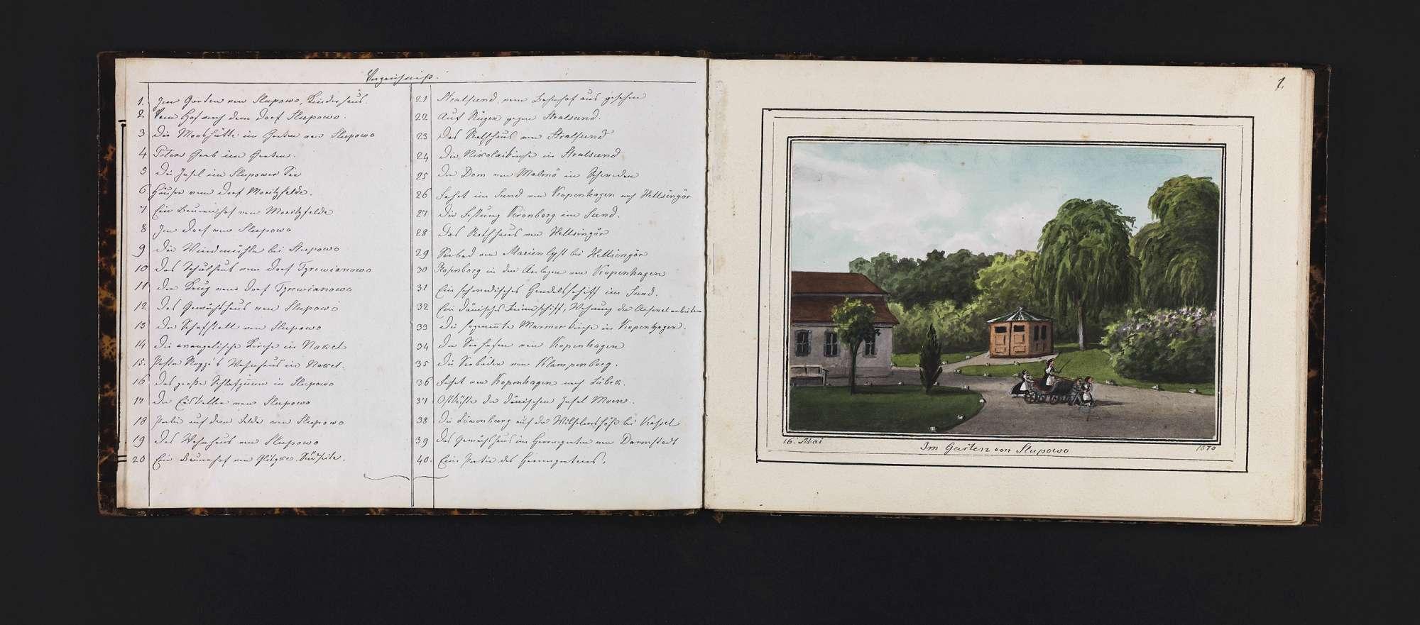 """""""Vierzig Ansichten von Slupowo, Stralsund und Kopenhagen <u.a.> nach der Natur gezeichnet im Jahr 1870"""", Bild 1"""
