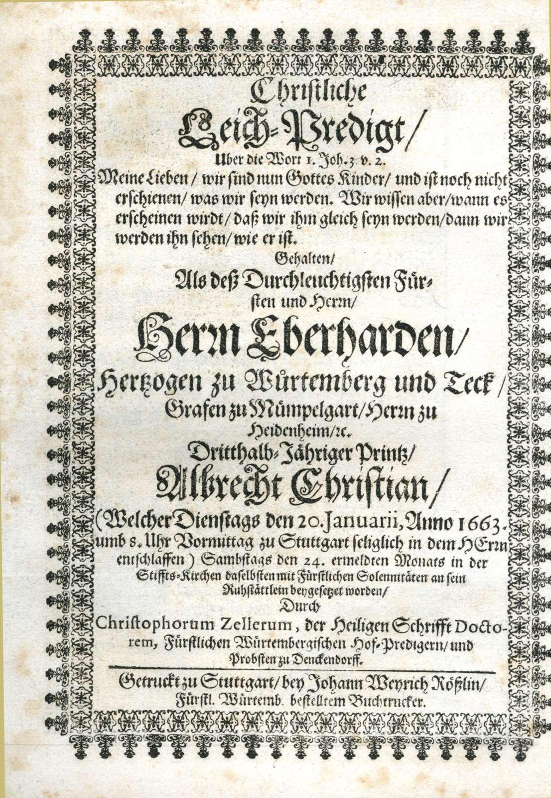 Leichenpredigten über Mitglieder des Hauses Württemberg, Bild 3