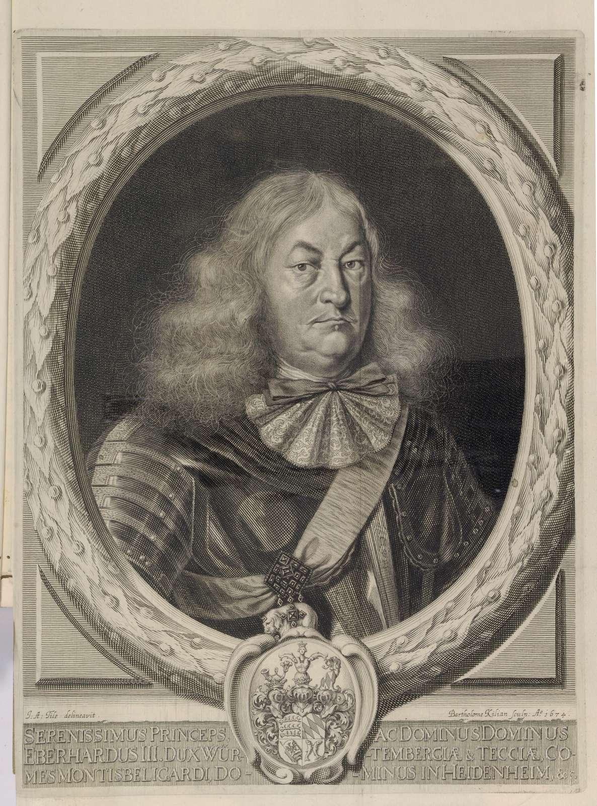 Leichenpredigten über Herzog Eberhard III. von Württemberg (geb. 16. Dez. 1614, gest. 2. Juli 1674), Bild 1