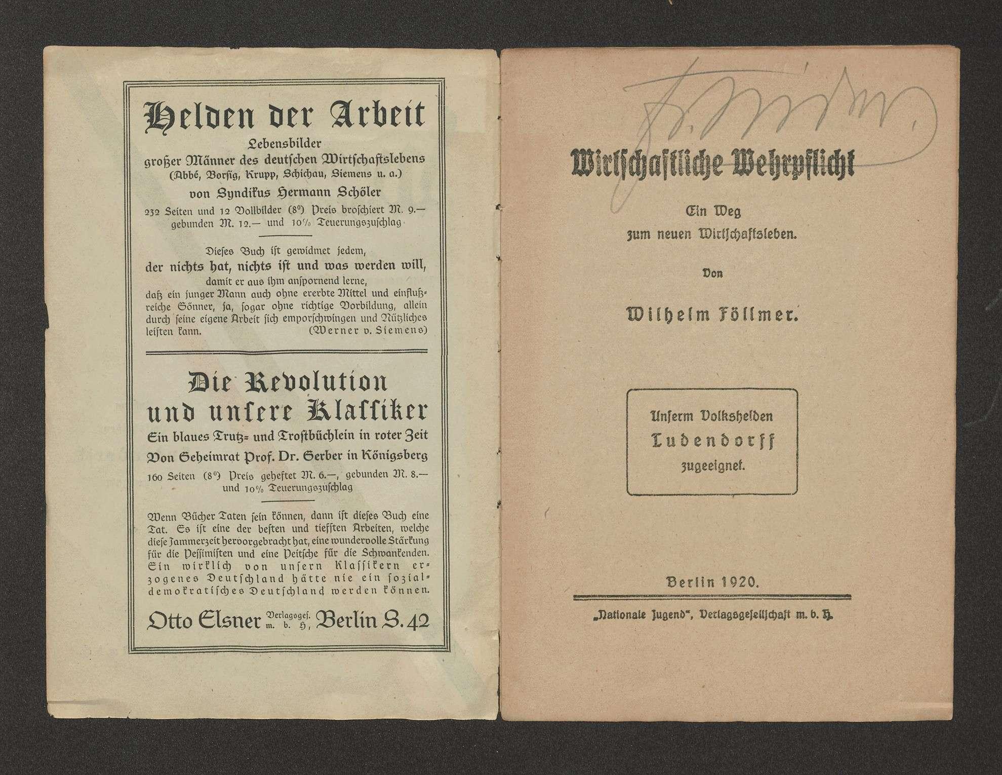 """Wirtschaftliche Wehrpflicht, ein Weg zum neuen Wirtschaftsleben, Föllmer, Wilhelm, Berlin, """"Nationale Jugend"""", Verl.-Ges., 1920, 16 S., Bild 2"""
