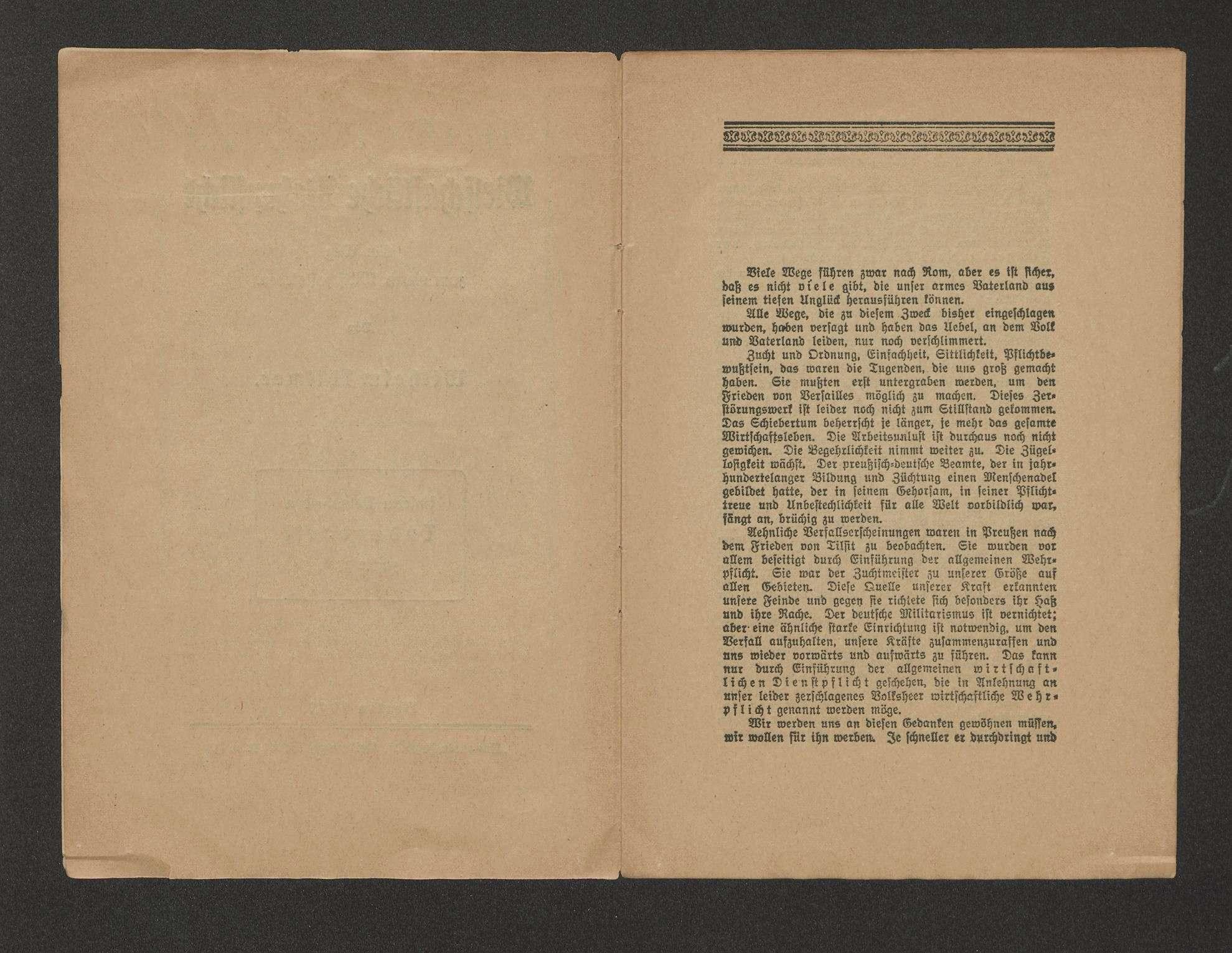 """Wirtschaftliche Wehrpflicht, ein Weg zum neuen Wirtschaftsleben, Föllmer, Wilhelm, Berlin, """"Nationale Jugend"""", Verl.-Ges., 1920, 16 S., Bild 3"""