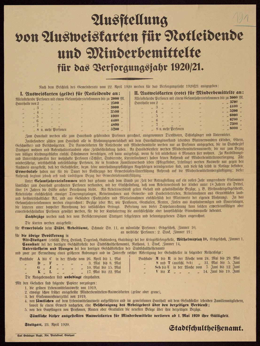 """""""Ausstellung von Ausweiskarten für Notleidende und Minderbemittelte für das Versorgungsjahr 1920/21"""" in Stuttgart, folgt: Bezugsberechtigte, Ausgabestellen und -termine, Bild 1"""