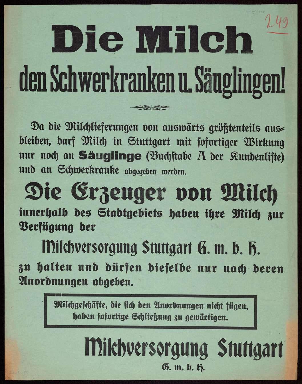 """""""Die Milch den Schwerkranken und Säuglingen!"""" Verfügung der Milchversorgung Stuttgart G.m.b.H. an alle Stuttgarter Milchgeschäfte, Milch nur an Säuglinge und Schwerkranke abzugeben, Bild 1"""