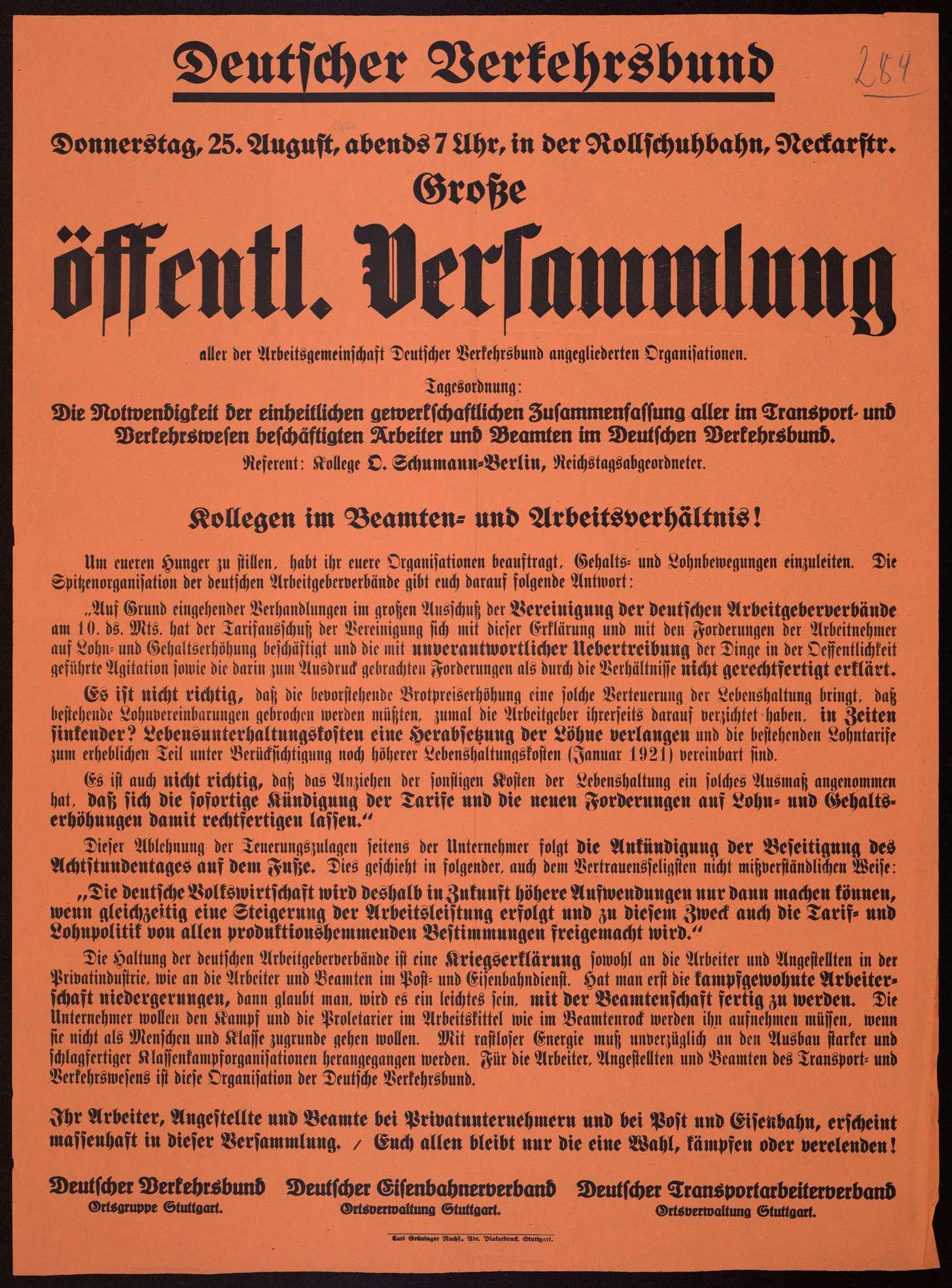 """""""Deutscher Verkehrsbund ... Große öffentliche Versammlung aller der Arbeitsgemeinschaft Deutscher Verkehrsbund angegliederten Organisationen"""" in Stuttgart, Bild 1"""