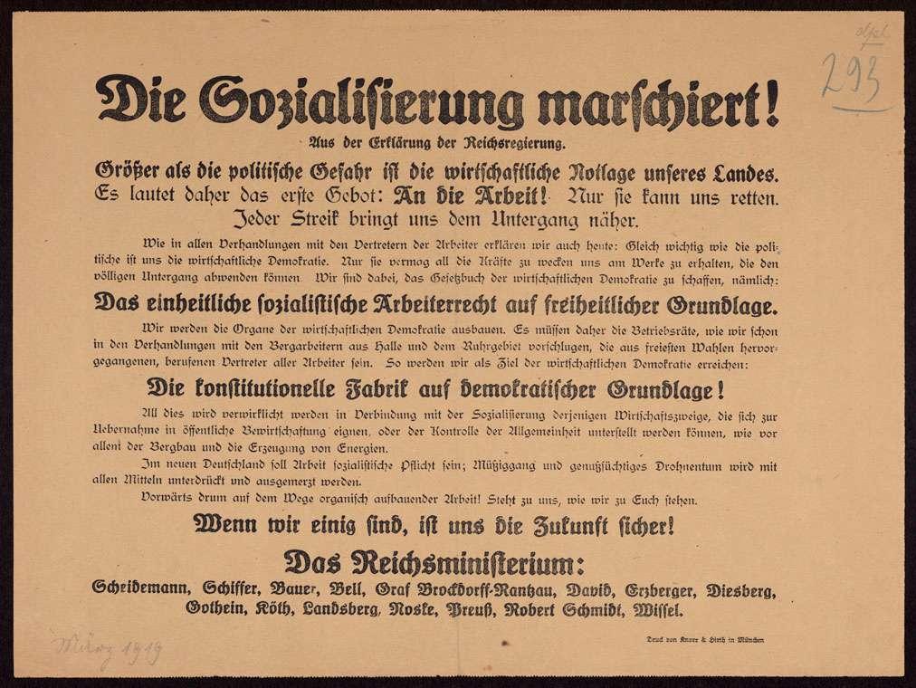 """""""Die Sozialisierung marschiert!"""" Aufforderung der Reichsregierung, die Streikmaßnahmen zu beenden und ihr Versprechen, die Sozialisierung von Wirtschaftszweigen fortzuführen, Bild 1"""