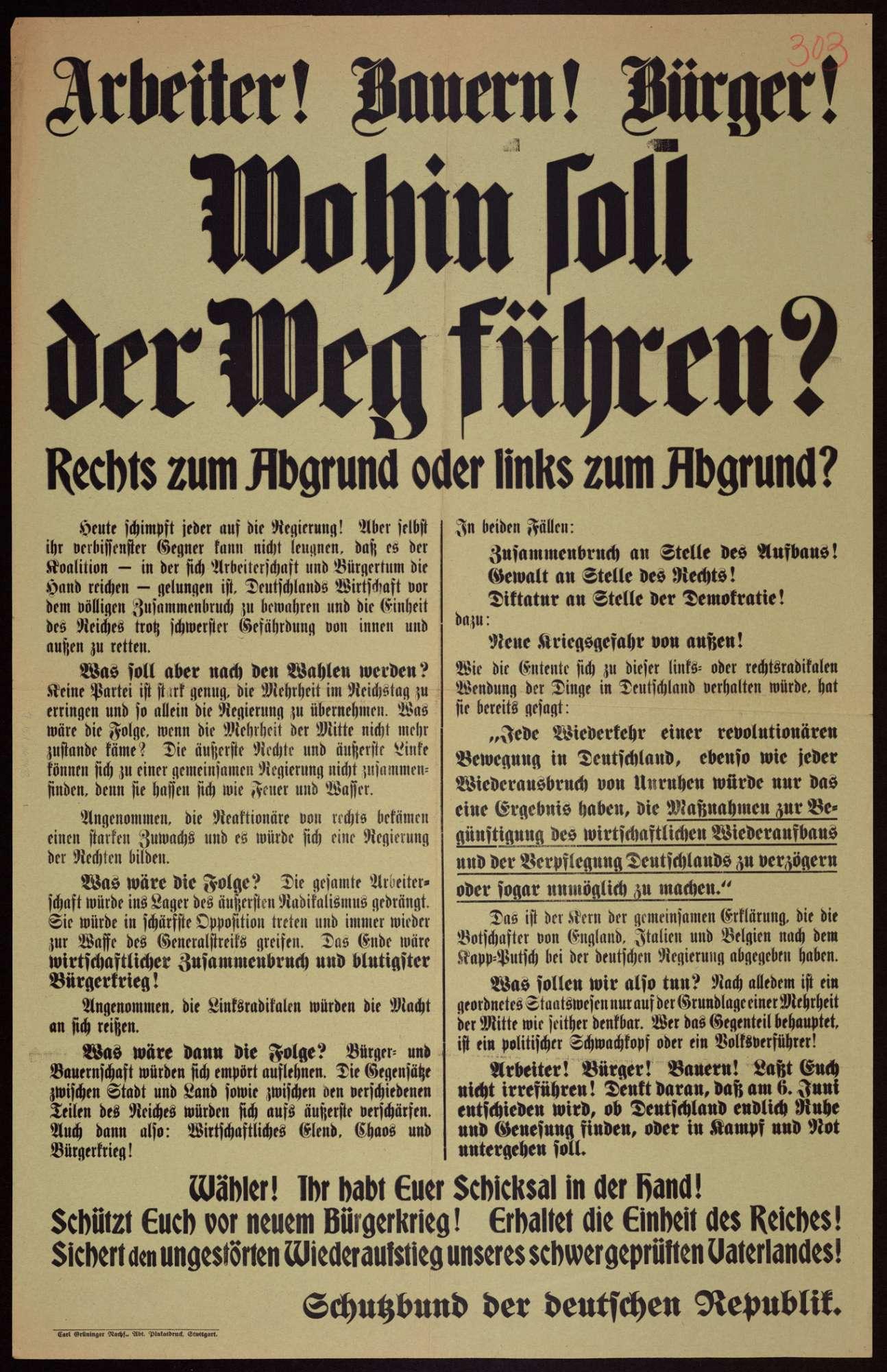 """""""Arbeiter! Bauern! Bürger! Wohin soll der Weg führen?"""" Wahlplakat zu den Reichstagswahlen am 6. Juni 1920, Bild 1"""