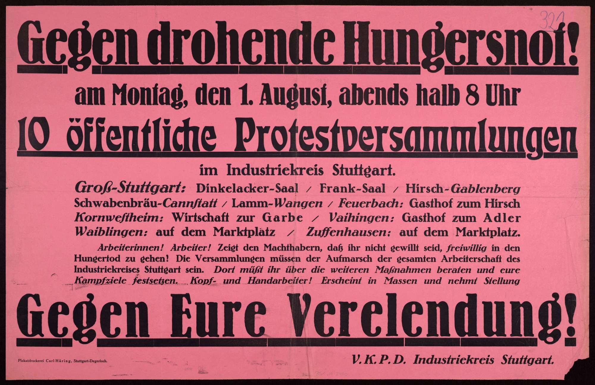 """""""Gegen drohende Hungersnot!"""" Aufruf zu öffentlichen Protestveranstaltungen im Raum Stuttgart, Bild 1"""