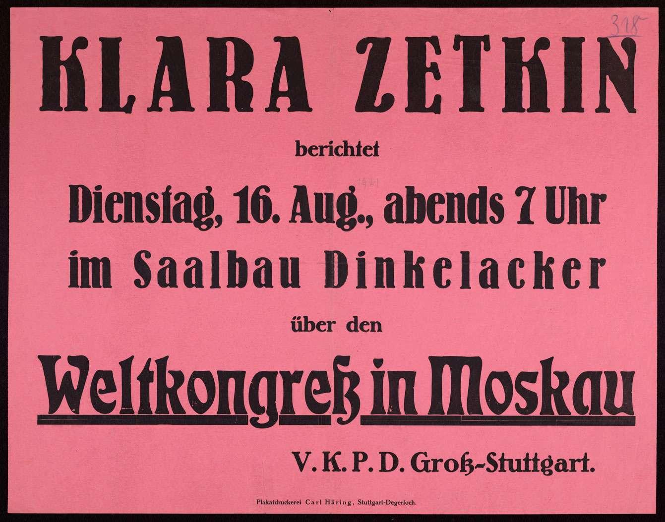 """""""Klara Zetkin berichtet am Dienstag, 16. Aug. (...) über den Weltkongreß in Moskau"""", Bild 1"""