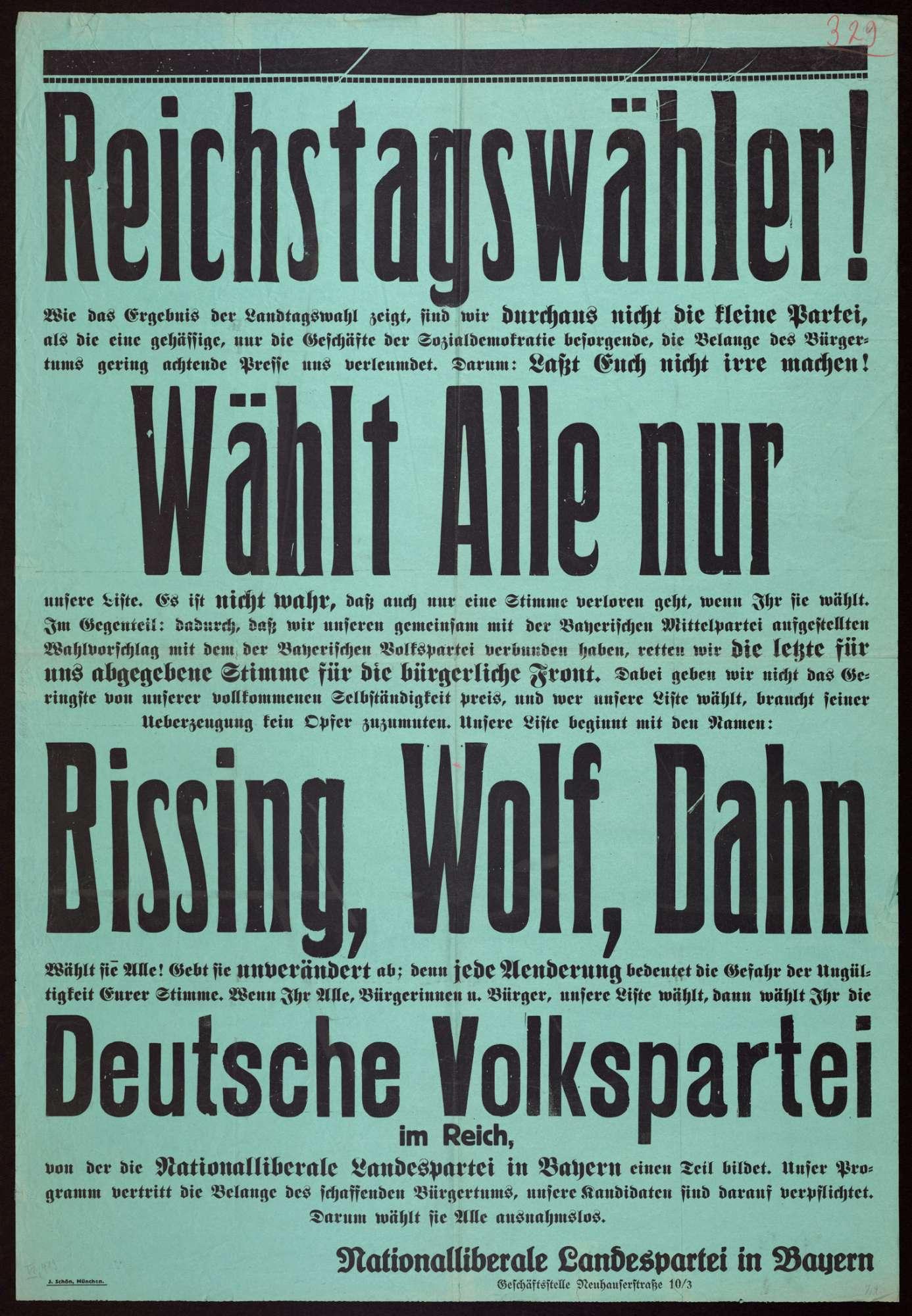 """""""Reichstagswähler!"""" Wahlplakat für die Liste der Deutschen Volkspartei, Bild 1"""
