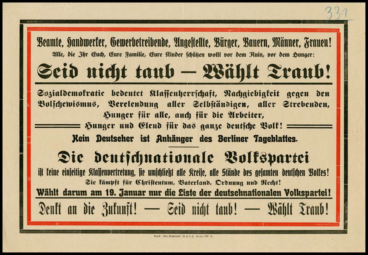 """""""Seid nicht taub - Wählt Traub!"""" Wahlplakat der deutschnationalen Volkspartei zur Wahl der Nationalversammlung 1919, Bild 1"""