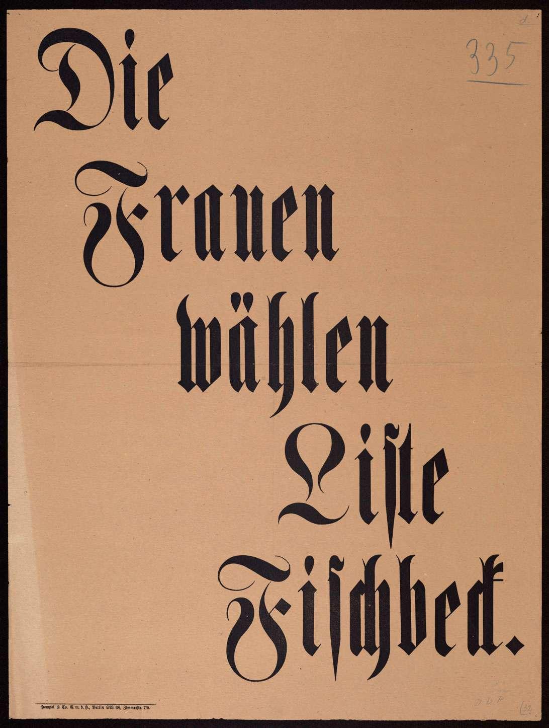 """""""Die Frauen wählen Liste Fischbeck"""", Bild 1"""