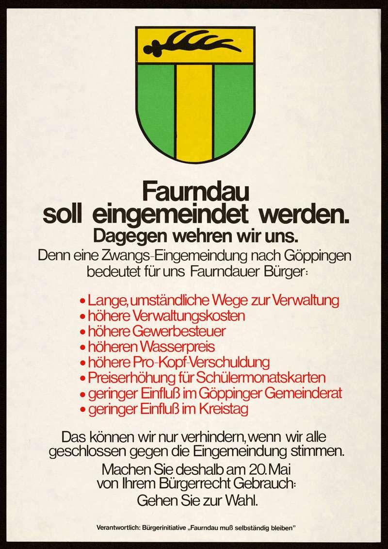 """""""Faurndau soll eingemeindet werden. Dagegen wehren wir uns"""", Bild 2"""