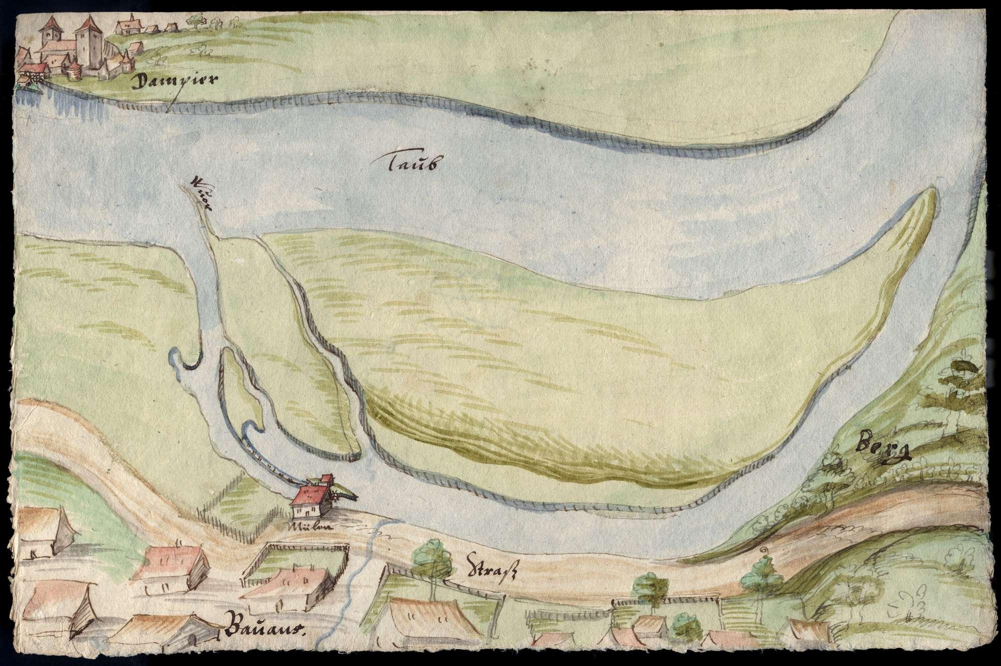 o. T. [Doubs mit Flussinseln bei Dampierre und Bavans], Bild 2