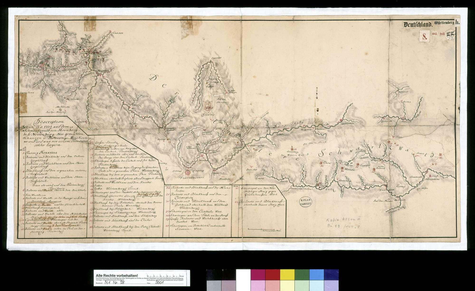 """""""Description der in Anno 1734/35 auf dem Schwarzwald von Hornberg bis Neuenbürg neu gemachten Schanzen und Postierungs-Werckern, wo und auf was für einern Territorio solche liegen"""", Bild 2"""