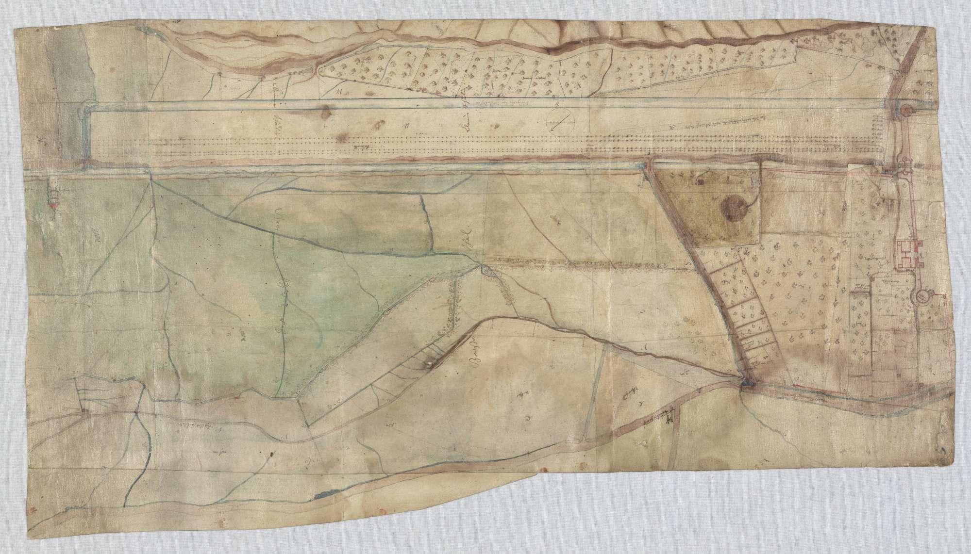 o. T. [Plan des Geländes im Bereich des späteren Oberen Schlossgarten], Bild 1