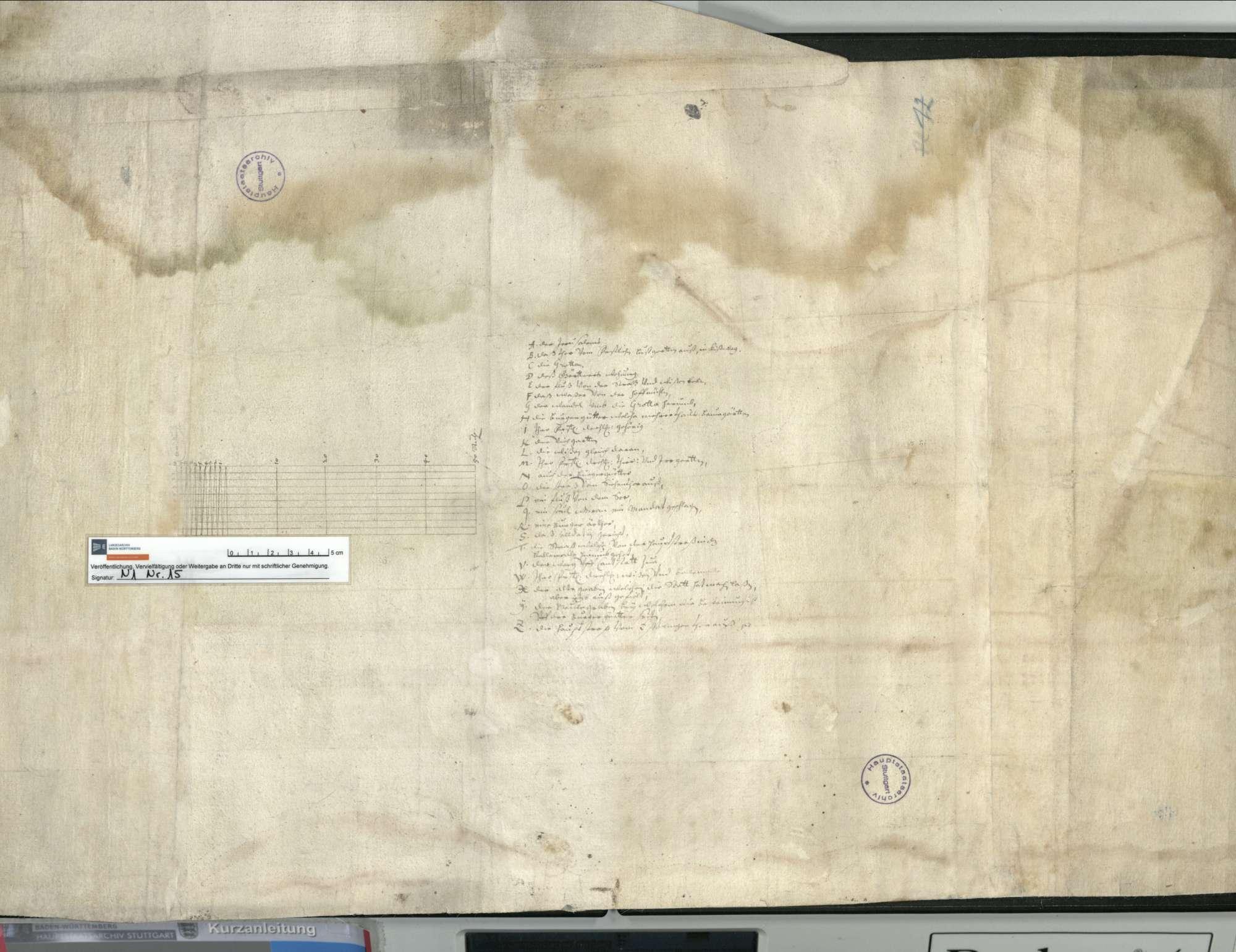 o. T. [Plan des Geländes im Bereich des späteren Oberen Schlossgarten], Bild 2