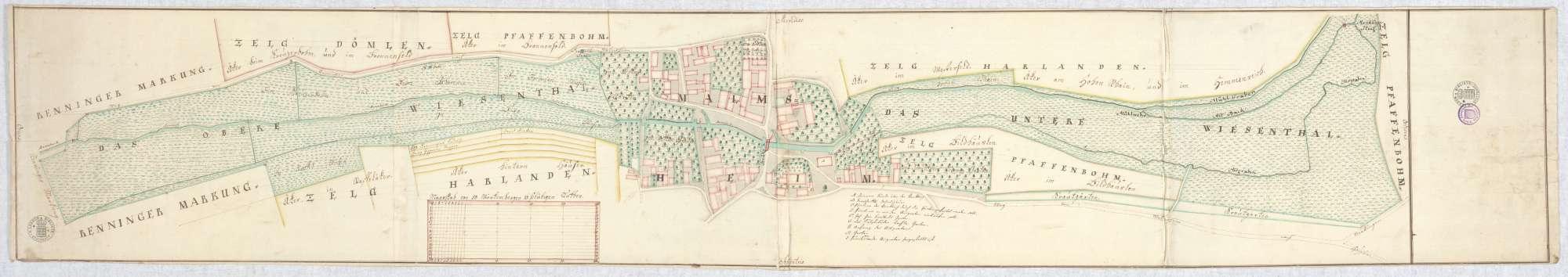 o. T. [Plan des Ortskerns von Malmsheim sowie des unteren und oberen Wiesentals], Bild 2