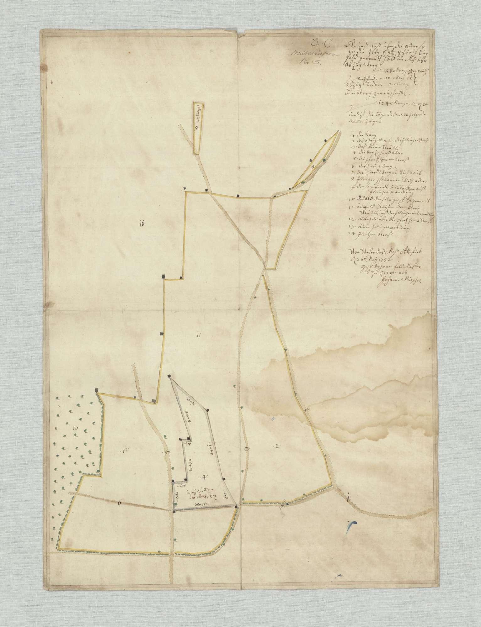Nr. 5 [von späterer Hand] Lit. C: Grundriß über die Äcker so in die Zelg Entz gehörig Bergfeld genannt [o. Gesamttitel; Grundrisse über Felder in den ZeIgen Oberau, Unterau und Enz], Bild 2