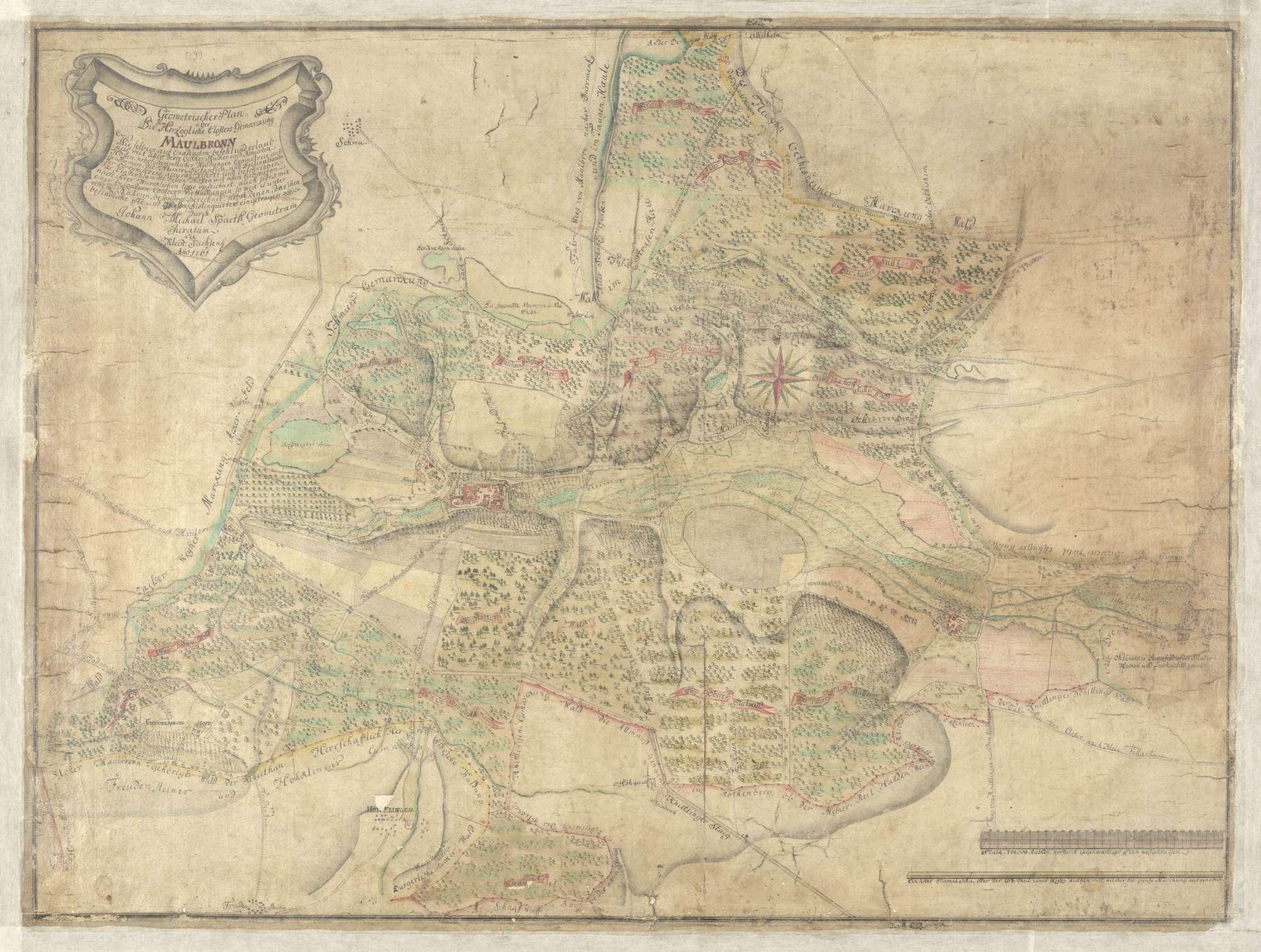 """""""Geometrischer Plan über die Herzogliche Clostersgemarckung Maulbronn ..."""", Bild 2"""
