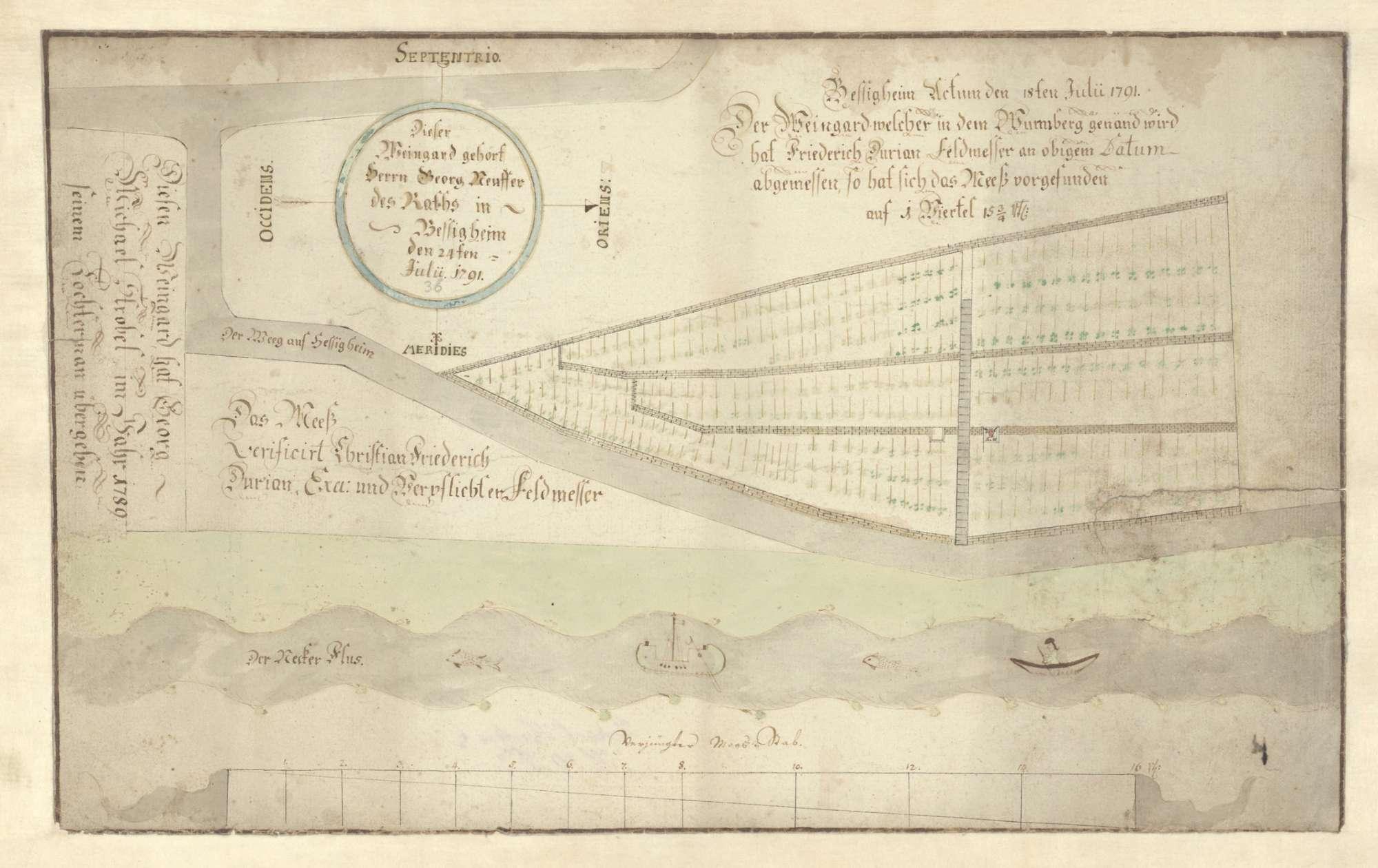 """o. T. [Karte über einen Weinberg, """"welcher in dem Wurmberg genannt wird""""], Bild 2"""