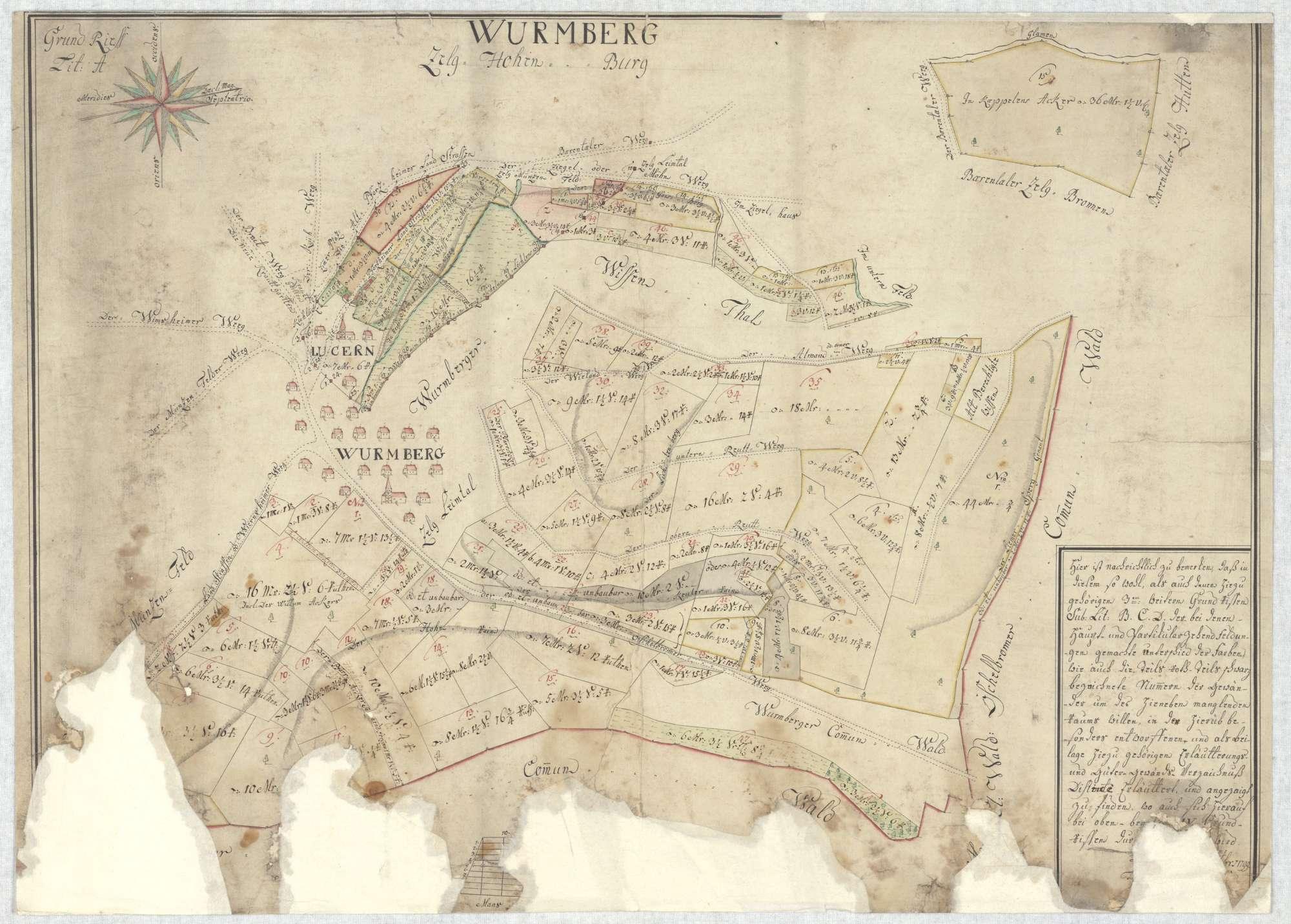 """""""Wurrnberg. Zelg Hohen-Burg. Grundriess Lit. A"""" [o. Gesamttitel; Wurmberg, Zelgen Hohenburg und Leimtal], Bild 2"""
