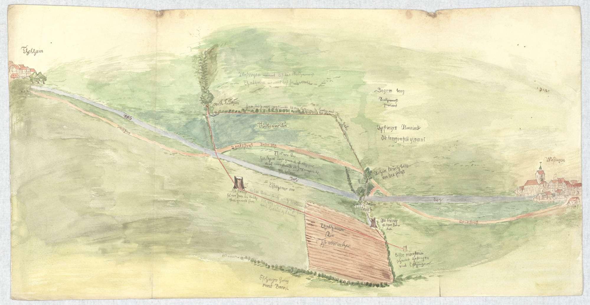 o. T. [Karte über den zwischen Öschingen und Talheim strittigen Zwing und Bann], Bild 2