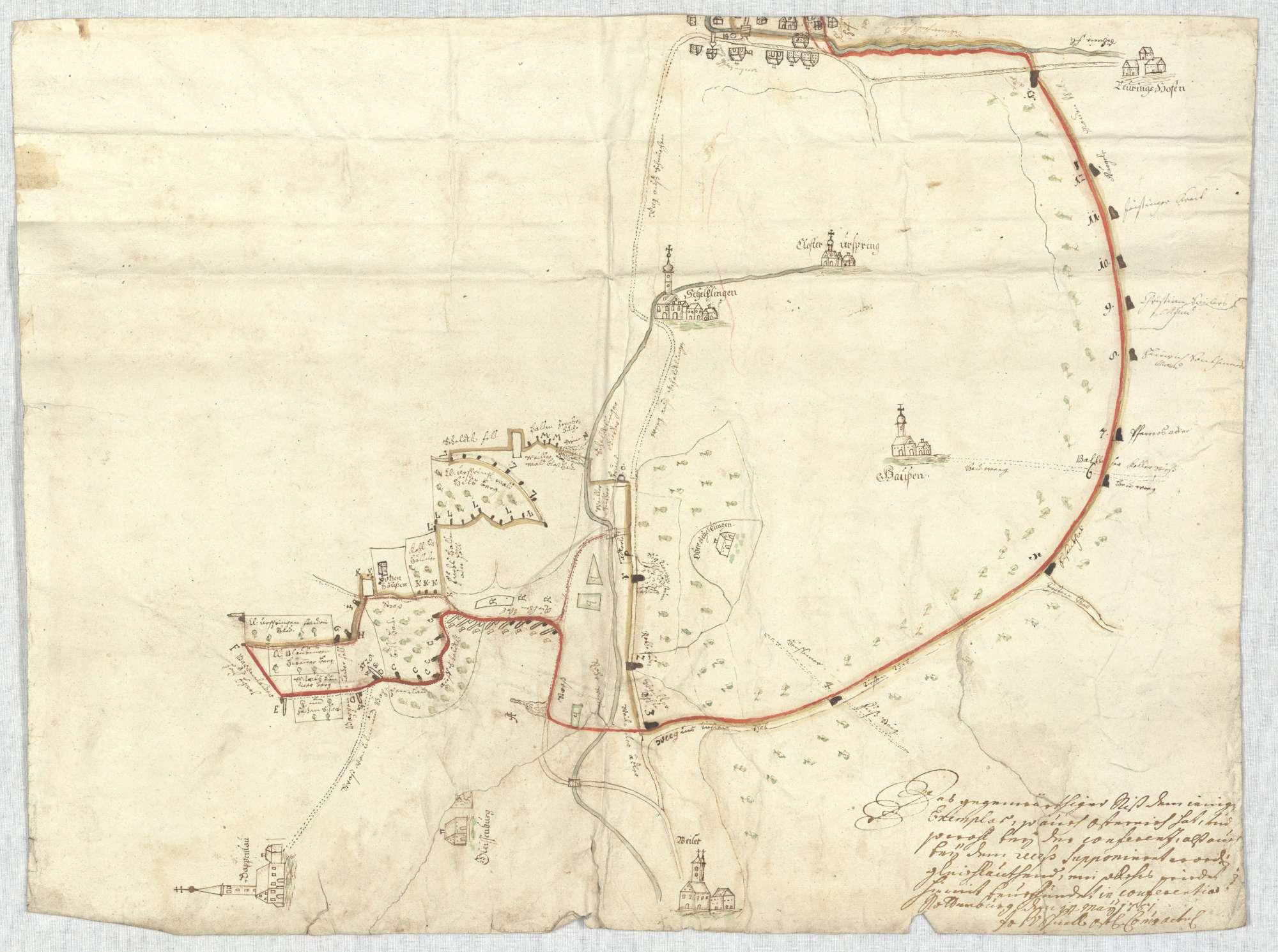 o. T. [Karte des Grenzverlaufs zwischen Blaubeuren und Munderkingen], Bild 4