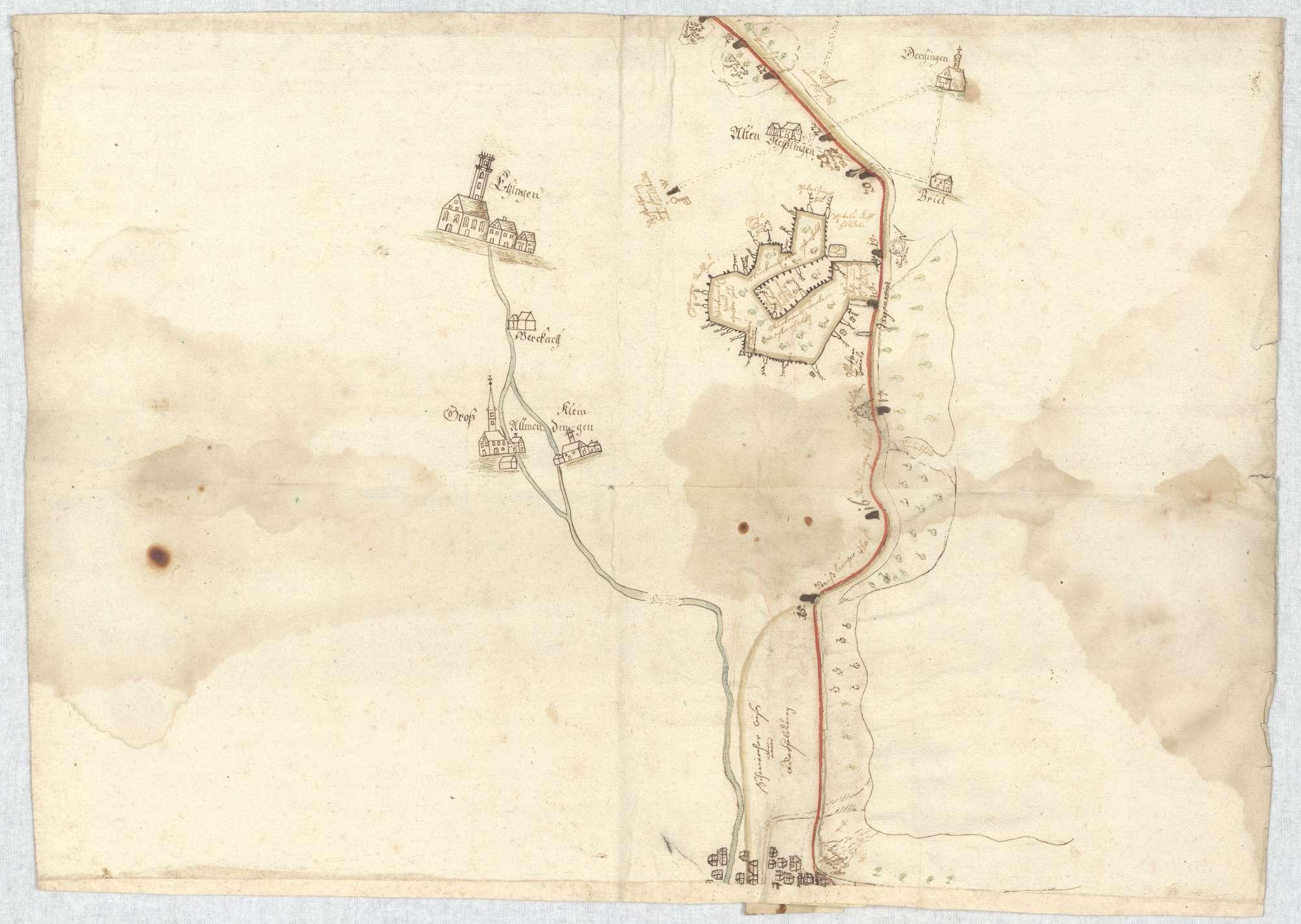 o. T. [Karte des Grenzverlaufs zwischen Blaubeuren und Munderkingen], Bild 5
