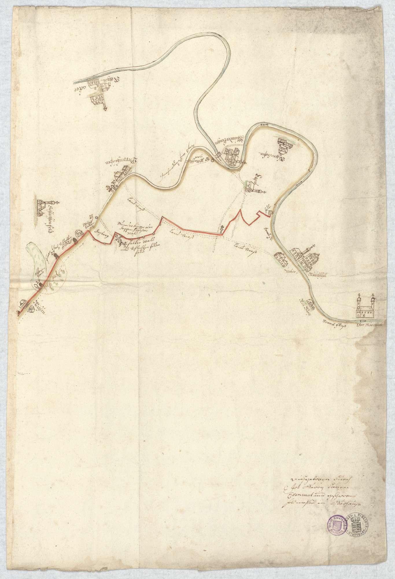 o. T. [Karte des Grenzverlaufs zwischen Blaubeuren und Munderkingen], Bild 6