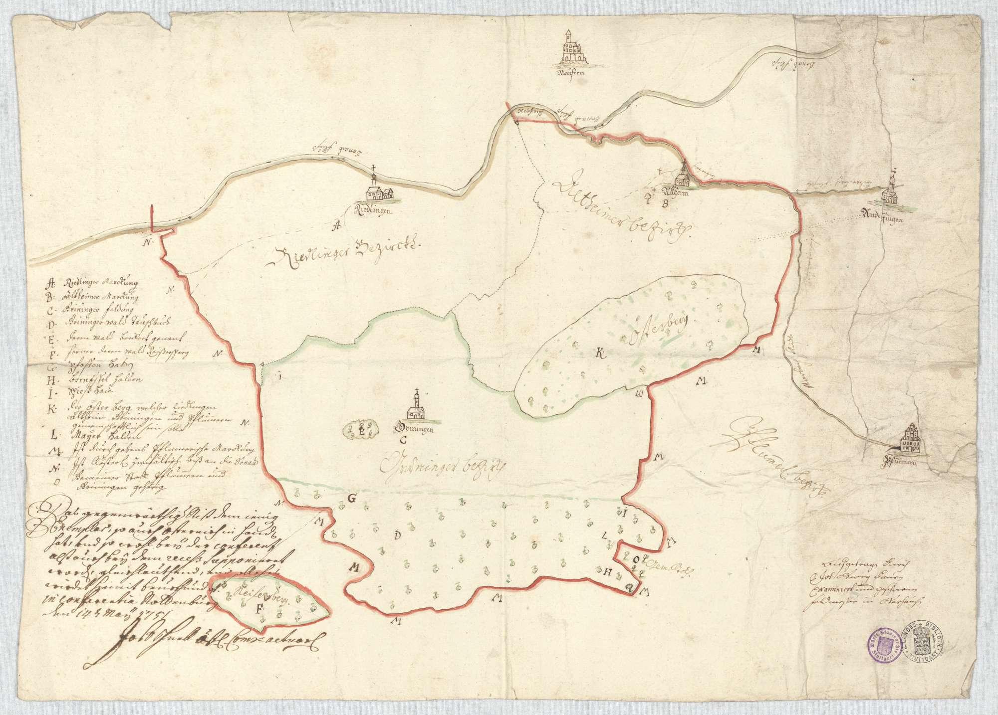o. T. [Grundriss über die Bezirke von Altheim, Grüningen, Pflummern und Riedlingen; Karte der Besitzverhältnissre], Bild 2