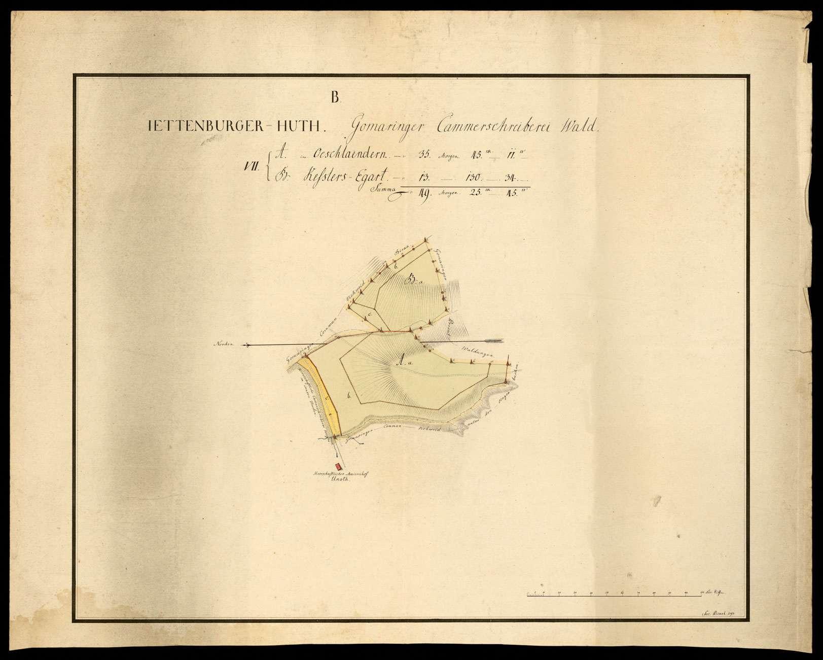 """""""Jettenburger Hut: Gomaringer Kammerschreiberei Waldungen"""" [B VII. A Öschländer, B. Kesslers-Egart], Bild 1"""