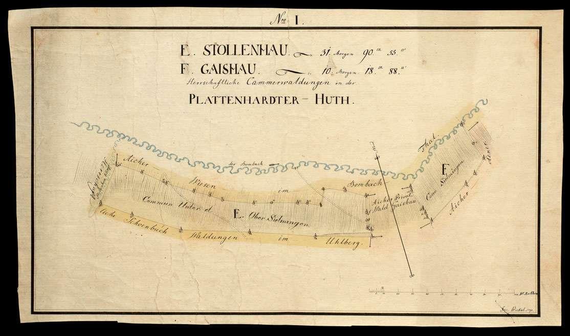 [Plattenhardter Hut: herrschaftliche Kammerwaldungen Nro. I E. Stollenhau und F. Gaishau], Bild 1