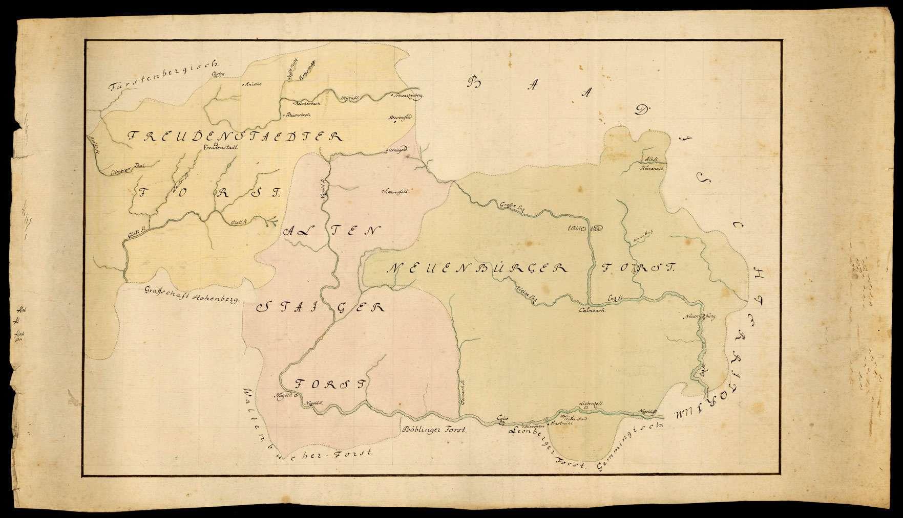 [Übersichtskarte des Freudenstädter, Altensteiger und Neuenbürger Forstes], Bild 1