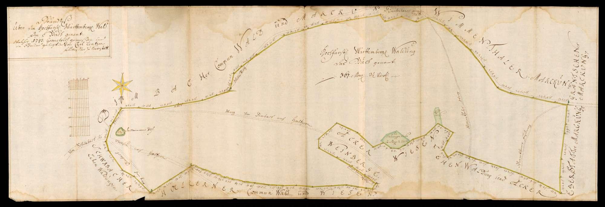 """[Revier Waldbach] """"Grundriß über den hochfürstlich württembergischen Wald im Buch genannt, welcher 1743 geometrisch gemessen und in Grund gelegt von Carl Lentz, Feldmesser zu Neuenstadt"""", Bild 1"""