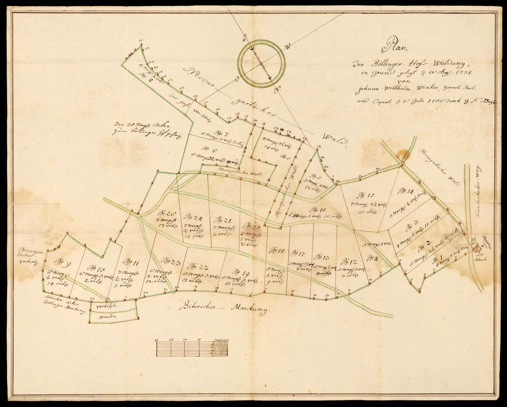 """[Forstamt Neuenstadt] """"Plan der Böllinger Hofs-Waldung, gelegt den 18. August 1738 von Johann Wilhelm Winter, geometrischer Praktikant und kopiert den 7. Juli 1806 durch G.F. Krieger"""" [Waldungen bei Neckargartach und Biberach], Bild 1"""