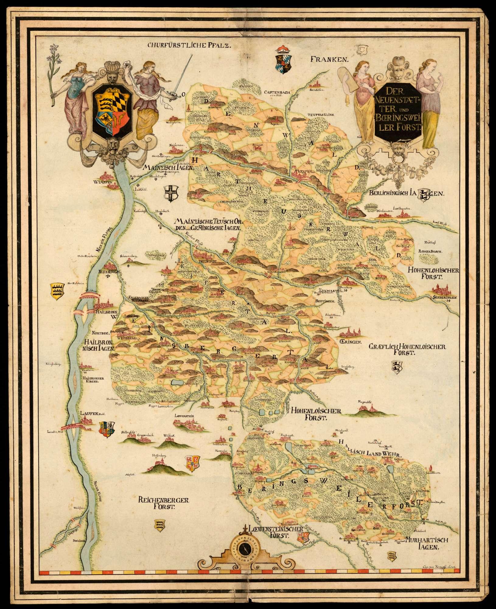 """""""Der Neuenstädter und Böhringsweiler Forst"""" [Generalkarte No. 1], Bild 1"""
