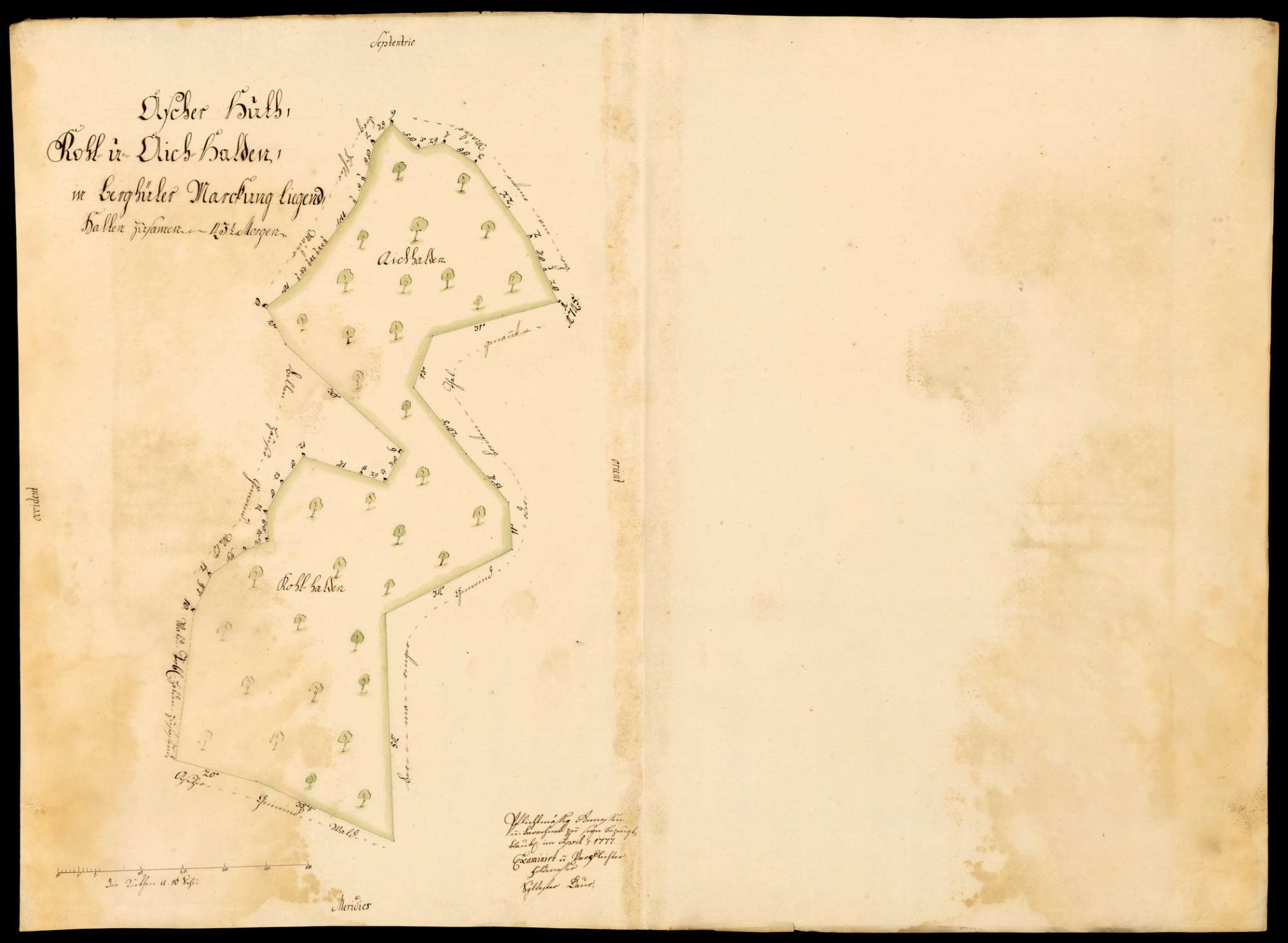 """[Kloster Blaubeuren:] """"Ascher Hut, Kohl- und Aich-Halden, in Berghüler Markung liegend"""", Bild 1"""