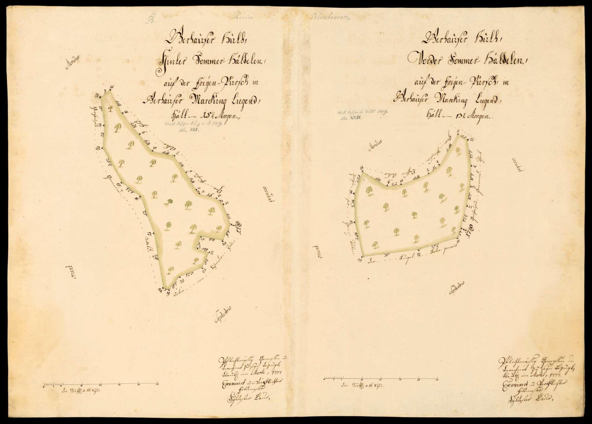 """[Kloster Blaubeuren:] """"Gerhauser Hut, Hinter- und Vorder-Sommerhälden, auf der freien Pirsch in Gerhauser Markung liegend"""", Bild 1"""