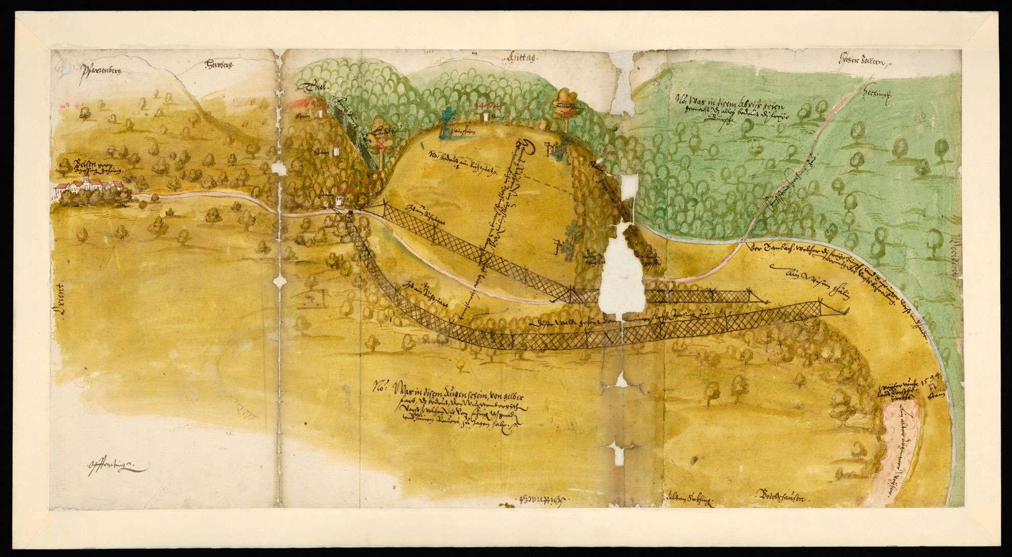 [Karte der strittigen Grenze zwischen dem württembergischen Tübinger Forst und der Freien Pirsch im Gebiet Belsen-Mössingen], Bild 1