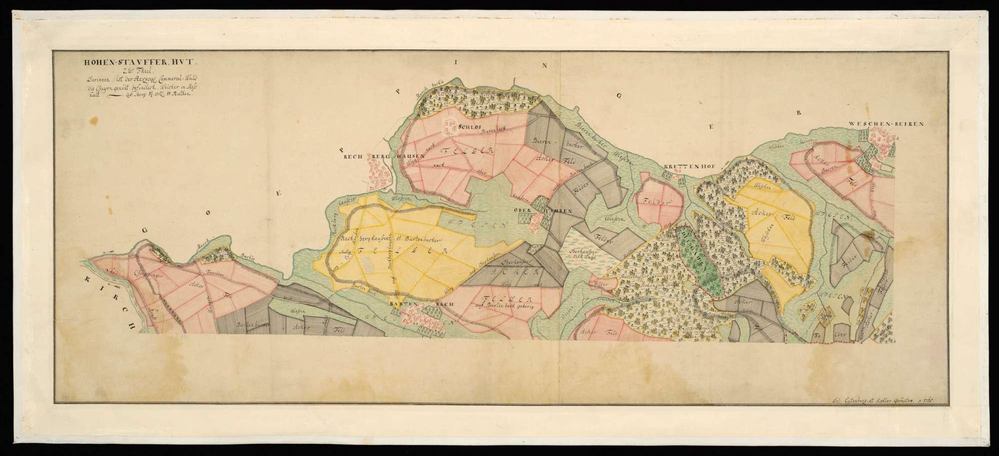 """[Schorndorfer Oberforst] """"Hohenstaufer Hut, 2. Teil, darinnen ist der herzogliche Kammerwald, die Gayrn genannt, befindlich, welcher in Meß hält ..."""", Bild 1"""