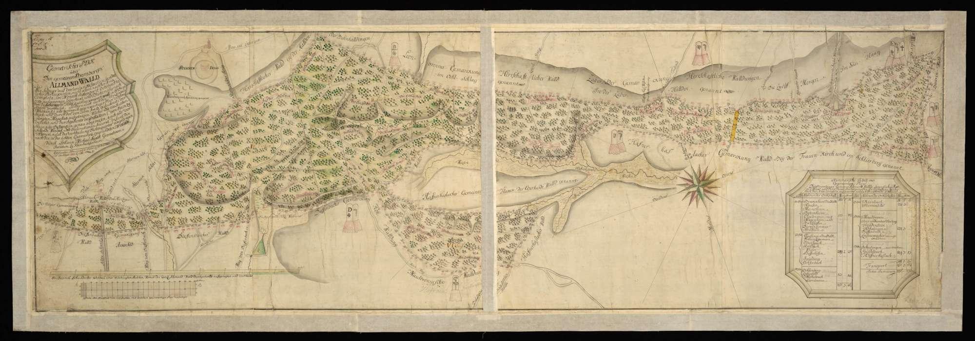 """[Stromberg] """"Geometrischer Riss über den gemeinen Stromberger Allmand Wald, wie selbiger auf Verlangen respektive sämtlicher Participanten ... im Monat September und Oktober anno 1759 aufgenommen ..."""", Bild 2"""