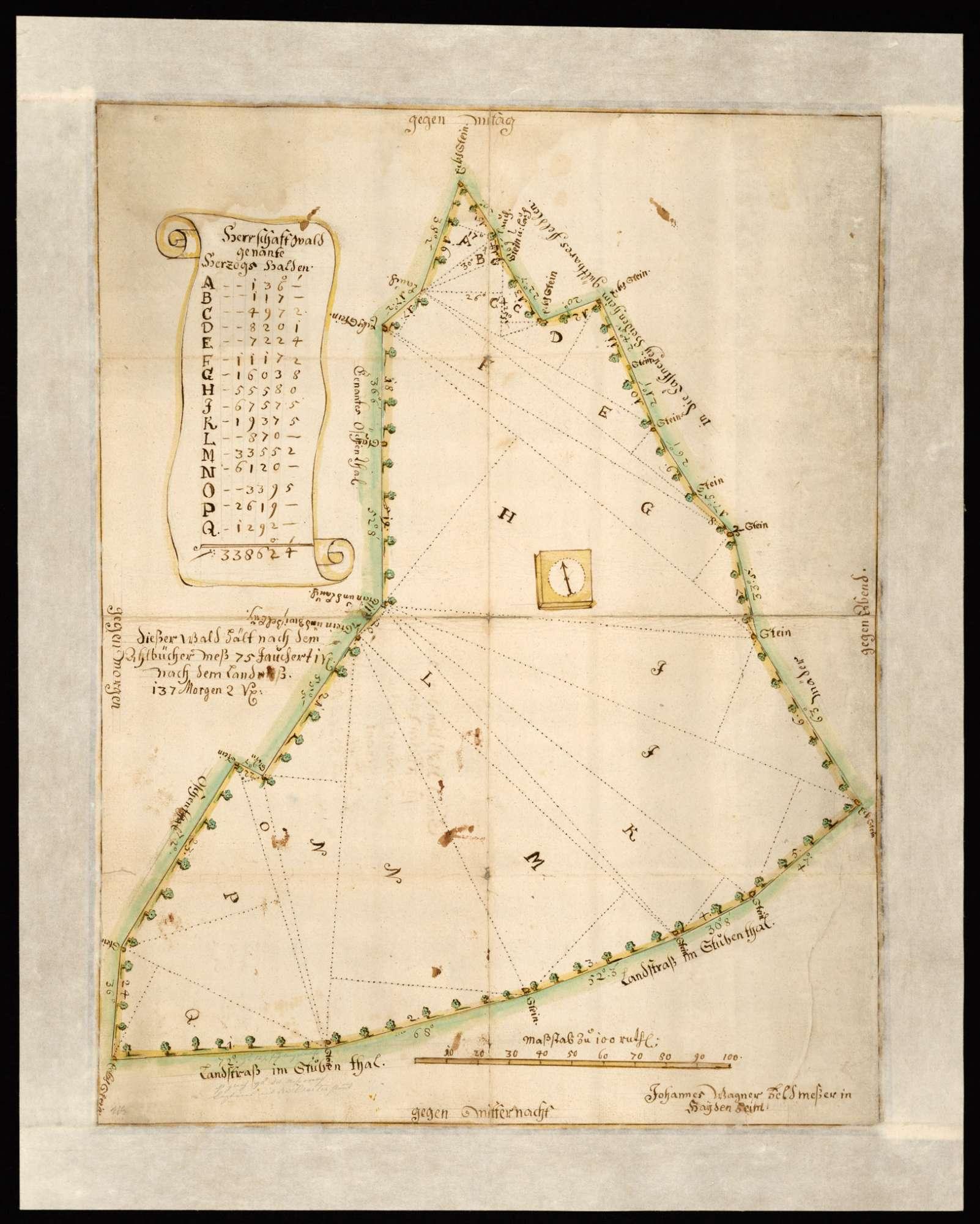 """[Forst Heidenheim, Schnaitheimer Hut]: """"Grundriss von dem herschaftlichen Wald Herzogshalden genannt, so in Schnaitheimer Jäger-Hut am Stubenthal"""" (Rückentitel), Bild 1"""
