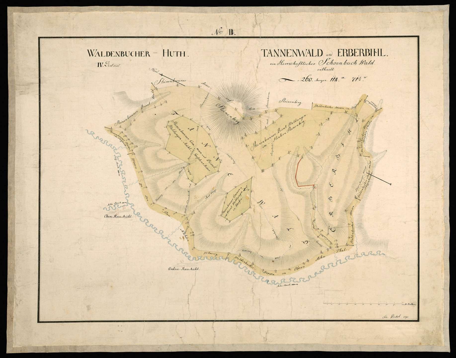 """[Tübinger Oberforst] """"Waldenbucher Hut, Distrikt: Tannenwald und Erberbihl, ein herrschaftlicher Schönbuchwald"""", Bild 1"""