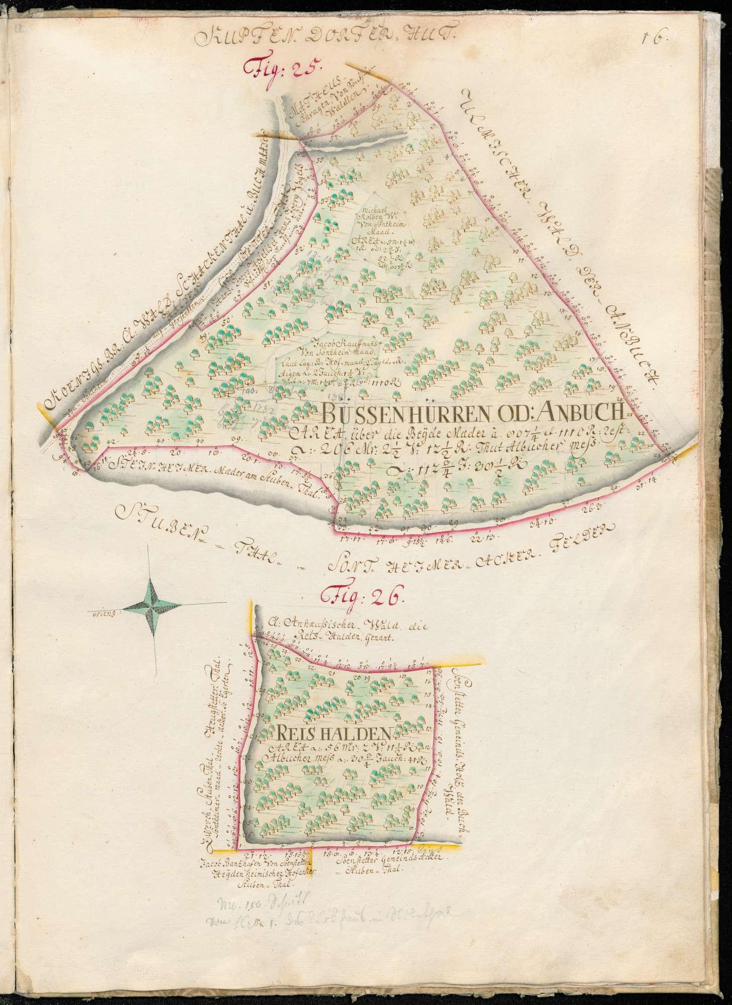 """[Küpfendorfer Hut] """"Figur 25 Bussenhürren oder Anbuch, Figur 26 Reishalde"""", Bild 1"""