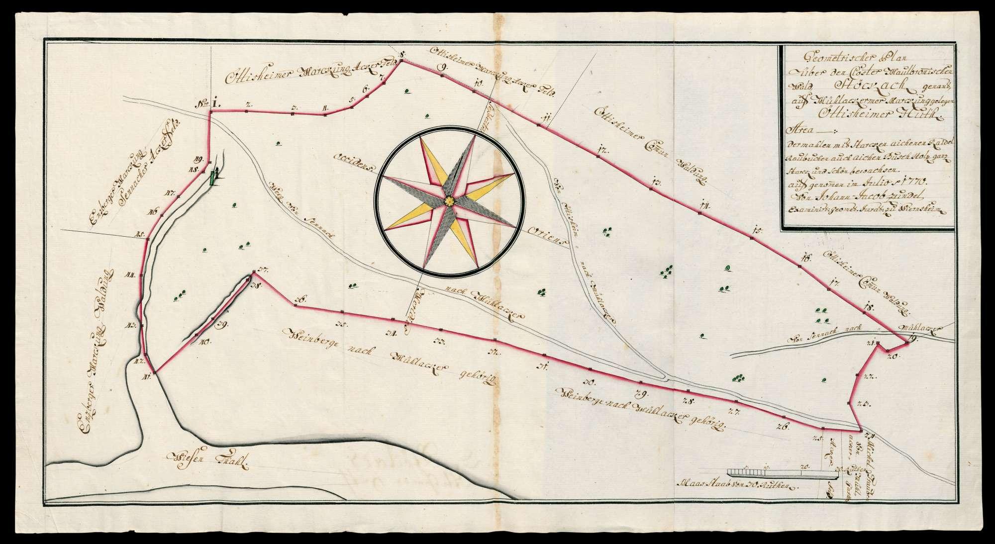 """""""Geometrischer Plan über den Kloster Maulbronnischen Wald, Stöckach genannt, auf Mühlackerer Markung gelegen, Ötisheimer Hut. ... aufgenommen 1770 von Johann Jacob Zundel, Geometer iuratus zu Wiernsheim"""", Bild 1"""