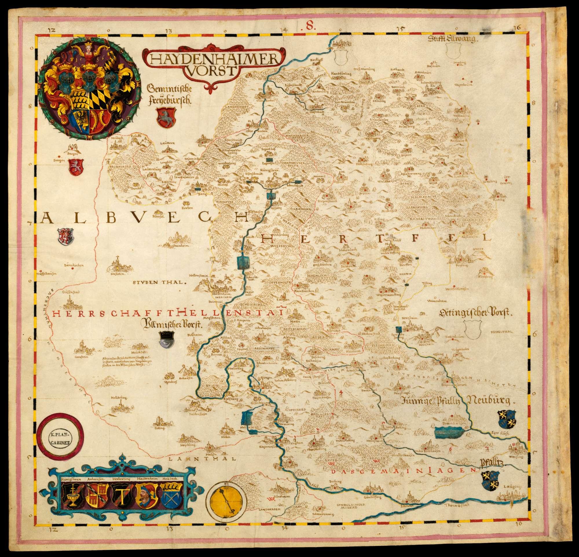 Bl. 13 v: Heidenheimer Forst [mit Herrschaft Hellenstein] (8), Bild 1