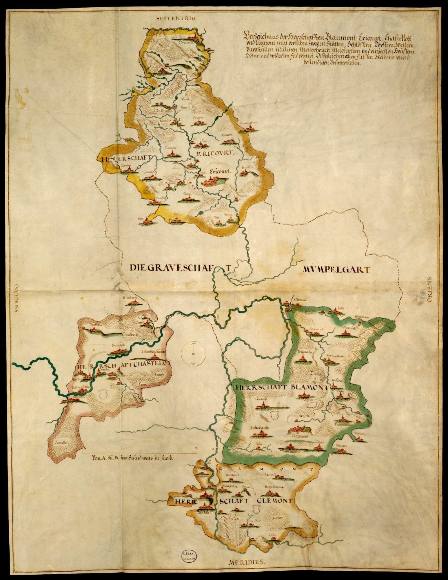 Bl. 30 r: Mömpelgardische Herrschaften Blamont, Héricourt, Châtelot und Clémont, Bild 1