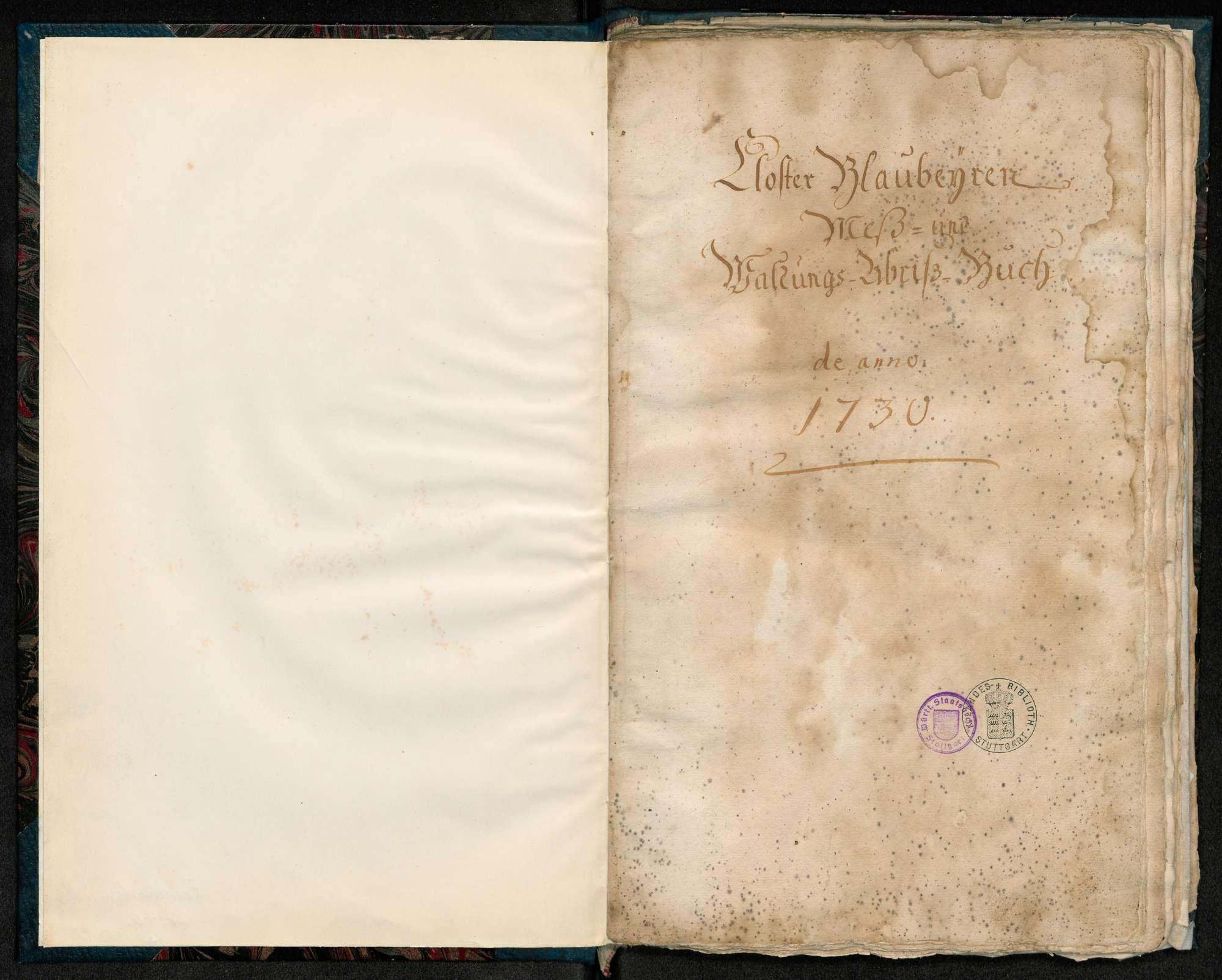 """""""Kloster Blaubeuren Mess- und Waldungs-Abriss-Buch de anno 1730"""", Bild 1"""