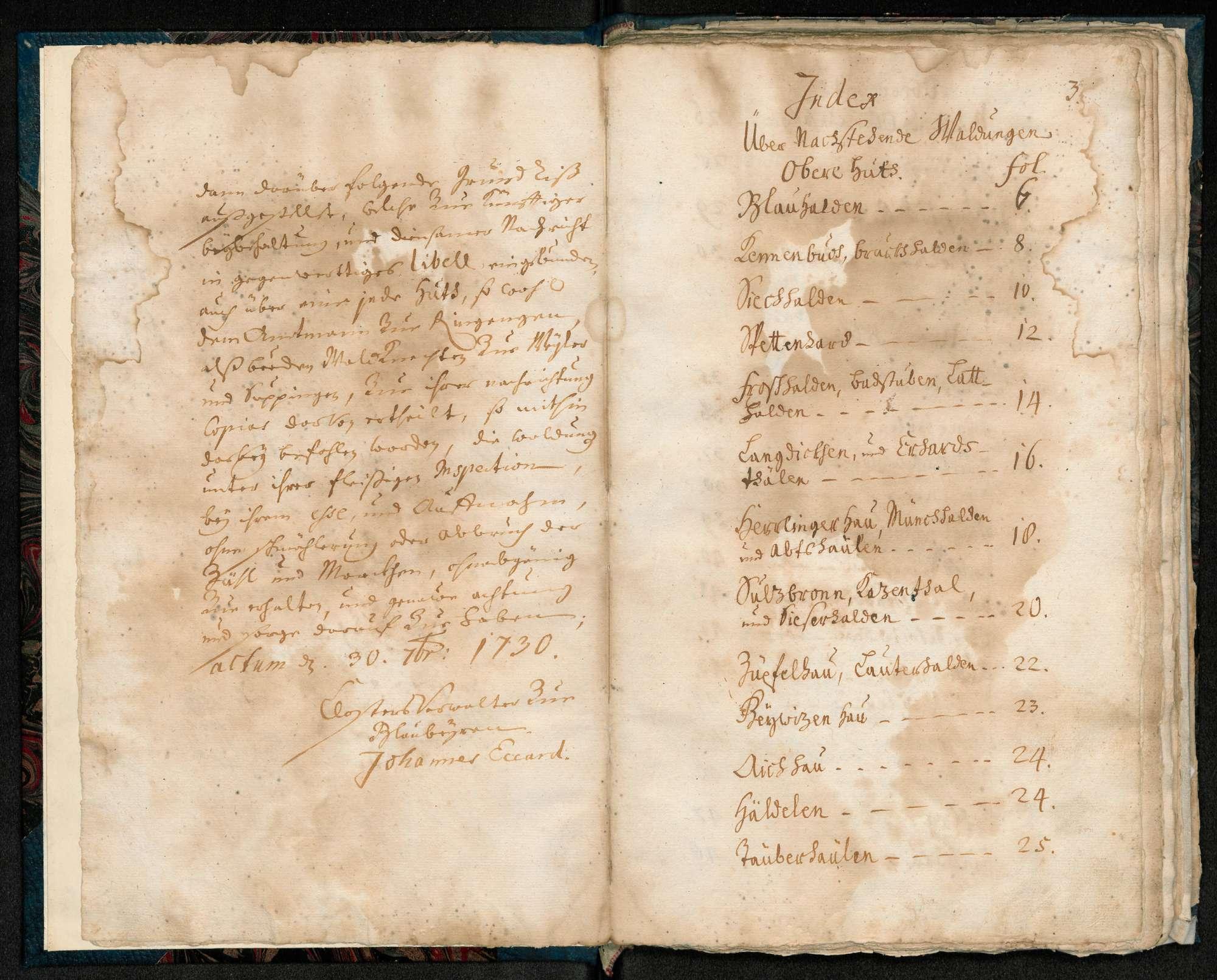 """""""Kloster Blaubeuren Mess- und Waldungs-Abriss-Buch de anno 1730"""", Bild 2"""